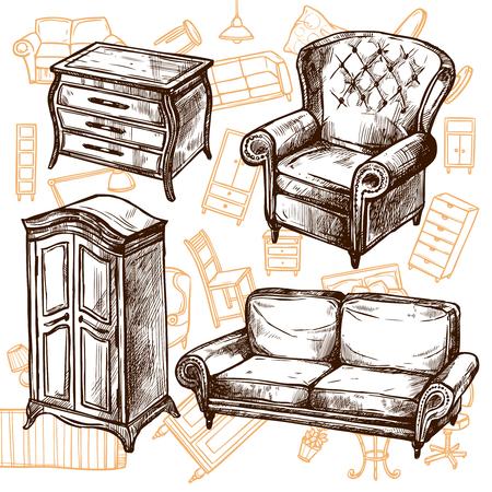 muebles antiguos: Muebles sillón armario y una cómoda vintage garabatear mano boceto dibujado concepto de ilustración vectorial Vectores