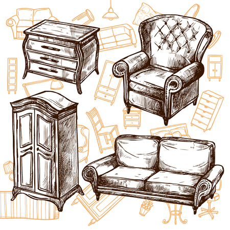 Vintage furniture chair sofa cabinet and dresser doodle sketch hand drawn concept vector illustration Vectores