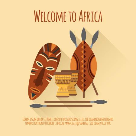 伝統: マスクの盾槍でアフリカ フラット本格的な文化的シンボル ポスターへようこそ djembes 抽象的分離ベクトル図  イラスト・ベクター素材
