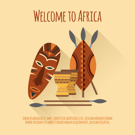 african culture: Welcome to africa flat  authentic cultural symbols poster with mask shields spears djembes abstract isolated vector illustration
