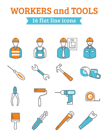 project manager: Construction project manager with foreman workers  and tools 16 line icons collection  poster abstract isolated vector illustration