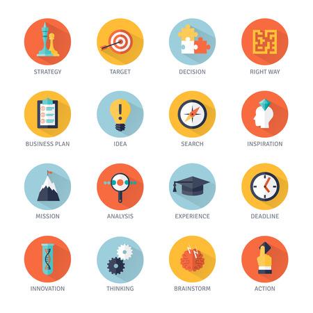 Bedrijfsstrategie schaduw pictogrammen die met idee analyse en actie symbolen platte geïsoleerde vector illustratie