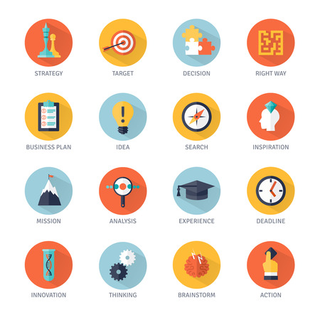 Business strategy shadow icons set with idea analysis and action symbols flat isolated vector illustration