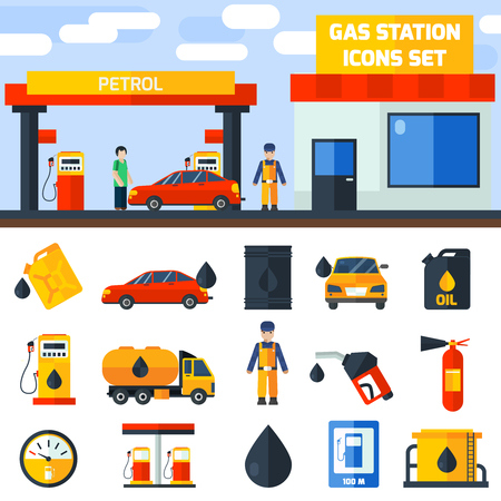 tanque de combustible: Gas de petróleo diesel servicio de bandera y los iconos de la estación de cartel composición establecer plana abstracto aislado ilustración vectorial