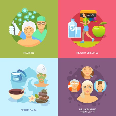 Rejuvenation procedures design concept set with medicine and healthy lifestyle flat icons isolated vector illustration