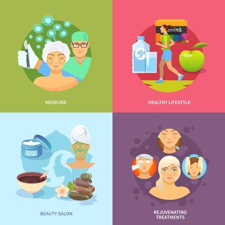 Verjonging procedures ontwerpconcept set met medicijnen en een gezonde levensstijl vlakke pictogrammen geïsoleerd vector illustratie