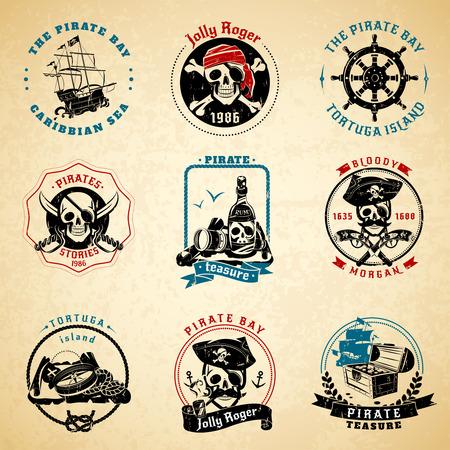calavera pirata: Clásicos de época caribe piratas del mar historias símbolos emblemas iconos de papel impresa viejos conjunto abstracto aislado ilustración vectorial