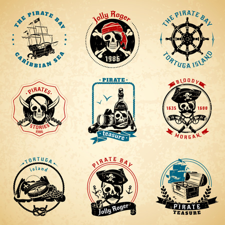 roger: Classical vintage caribbean sea pirate stories symbols emblems old paper printed icons set abstract isolated vector illustration