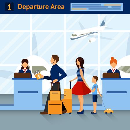 recepcion: Escena zona de salidas del aeropuerto con pasajeros recepción y aviones en el fondo con el título en la parte superior ilustración vectorial