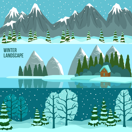 panoramas: Three horizontal flat banners set of winter landscape with panoramas of mountains lake and forest vector illustration