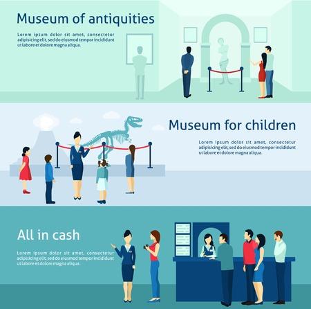 antik: Archäologisches Museum der Antike und naturwissenschaftlichen Ausstellung für Kinder Flach Banner gesetzt abstrakten isolierten Vektor-Illustration Illustration