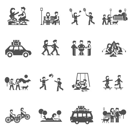 Outing black icons set with parents and kids playing outdoors isolated vector illustration