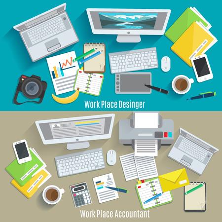 Diseñador y contador lugar de trabajo horizontal de la bandera conjunto aislado ilustración vectorial