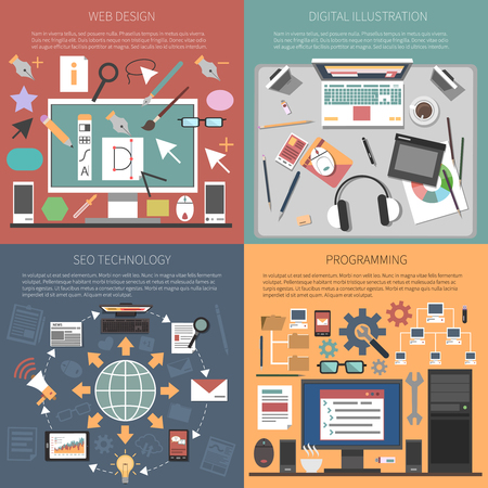 media icons: Web design concept set with with seo technology programming flat icons isolated vector illustration