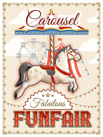 carousel: Retro funfair or amusement park poster with carousel horse vector illustration