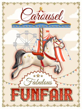 equine: Retro funfair or amusement park poster with carousel horse vector illustration