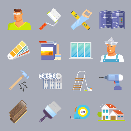 home renovation: House renovation and maintenance flat icons set isolated vector illustration