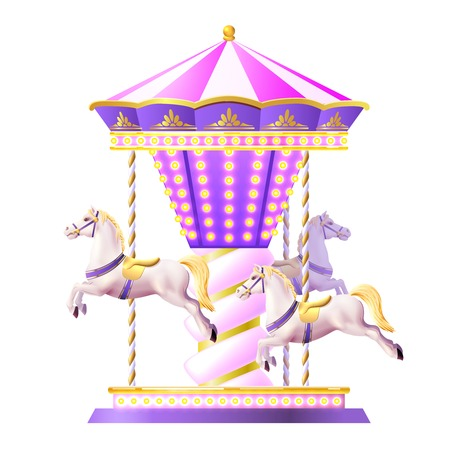 carousel: Retro merry-go-round carousel with realistic white toy horses and golden lights vector illustration
