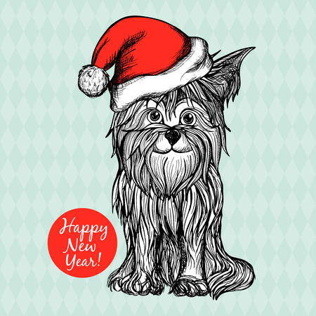 white  hat: New year postcard with dog in red santa claus hat hand drawn vector illustration