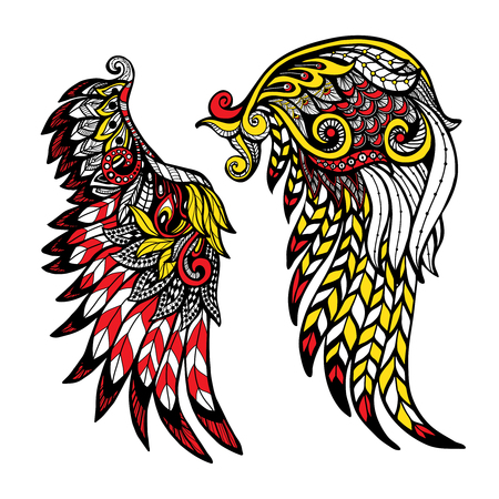 hand colored: Hand drawn colored wings set with decorative feathers isolated vector illustration Illustration