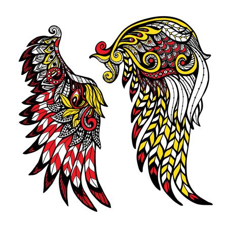 engel tattoo: Hand gezeichnet farbige Flügel mit dekorativen Federn isoliert Vektor-Illustration festgelegt