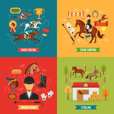 carreras de caballos: Equitación concepto de diseño conjunto con elementos jinete raza y estabulación ilustración vectorial plana
