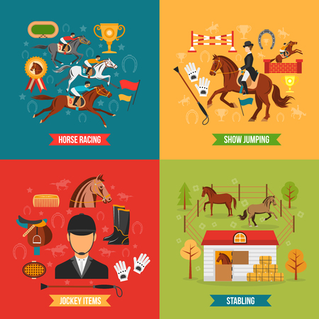 jumping: Horse riding design concept set with jockey items race and stabling flat  vector illustration
