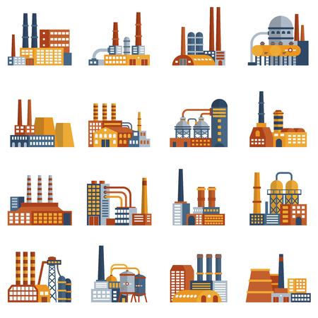 Fabrieks vlakke die pictogrammen met installaties en industriële opslagplaatsen geïsoleerde vectorillustratie worden geplaatst