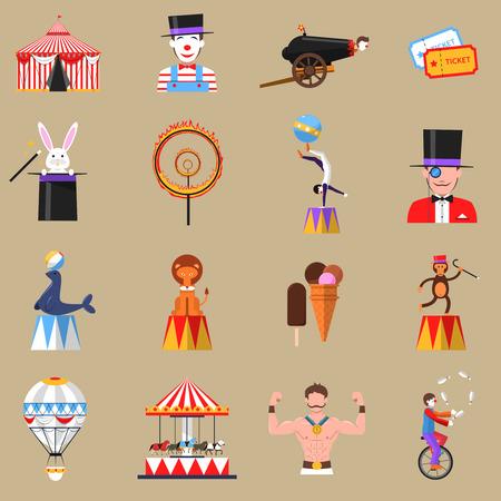 mago: Símbolos del circo del vintage iconos planos establecidos con hombre fuerte y clown con truco del conejo abstracto aislado ilustración vectorial