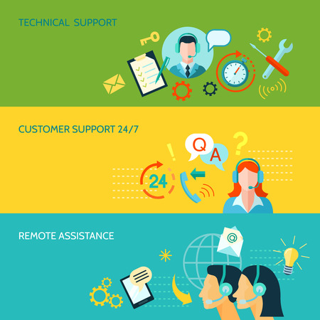 call center people in isolated: Customer support remote and technical assistance 3 horizontal flat style banners isolated vector illustration