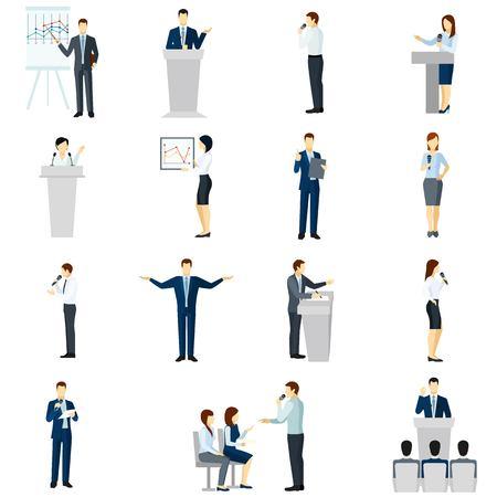 hablar en publico: Aprender y practicar habilidades para hablar en p�blico con presentaciones entrenadores taller iconos planos conjunto abstracto aislado ilustraci�n vectorial