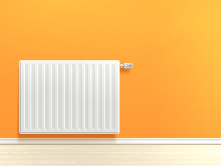 warm house: Realistic white heating radiator on orange room wall vector illustration Illustration