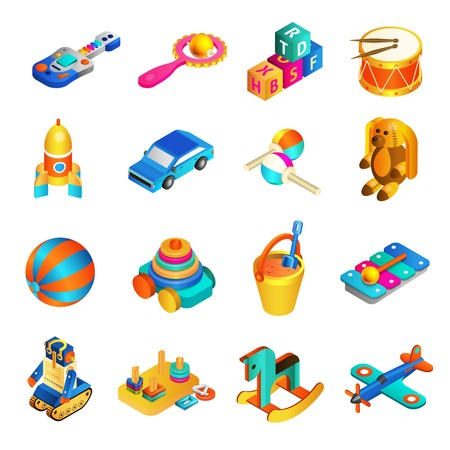 Toys isometric set with 3d rocking horse drums and rocket isolated vector illustration Illustration