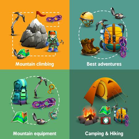campamento: Equipo de montaña de los Alpes acampar escalada y senderismo 4 iconos 3d composición de la plaza banner abstracto ilustración vectorial aislado