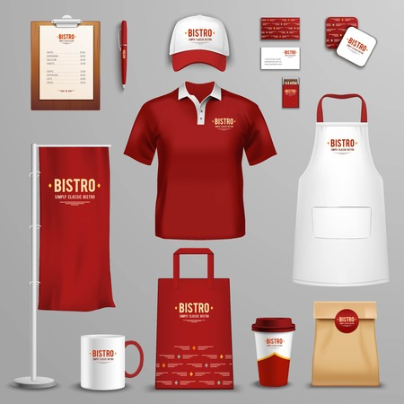bar magnet: Corporate and identity design for bistro restaurant chain in three colors icons collection abstract isolated vector illustration