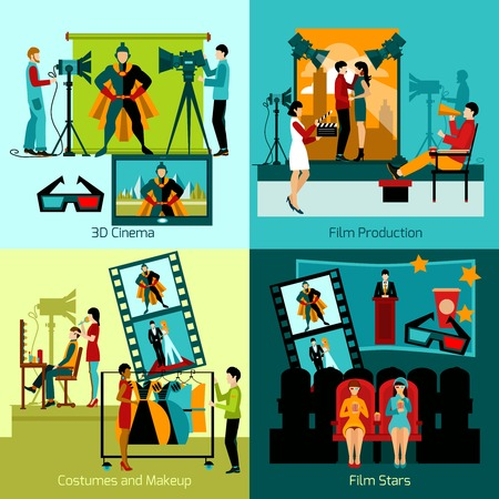 making dresses: Cinema people design concept set with film production flat icons isolated vector illustration Illustration