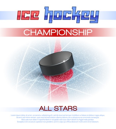Ice hockey sport championship promo poster with realistic puck vector illustration