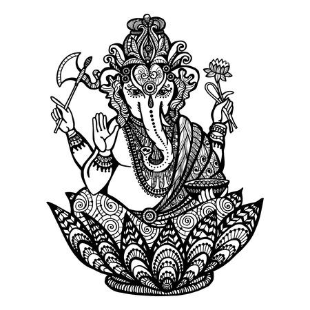 Ganesha decorativo dios hindú que se sienta en la flor de loto dibujado a mano ilustración vectorial