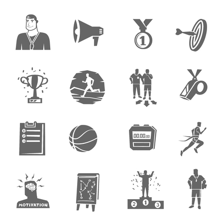 coaching: Coaching and sport black flat icons set isolated vector illustration