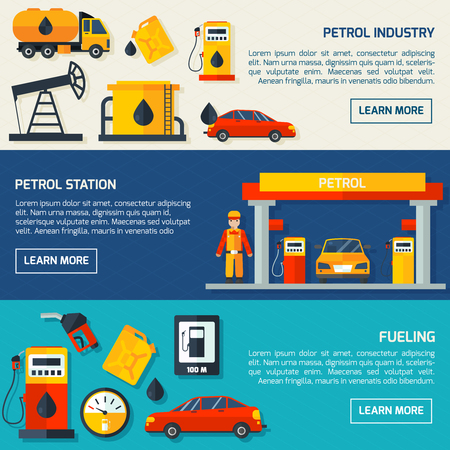 oilcan: Gasoline petrol fuel and motor oil station flat banners set with service facilities abstract isolated vector illustration.