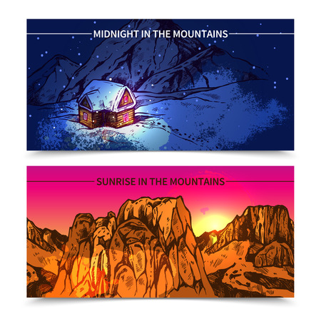 ridge of wave: Sketch style 2 banners presenting winter midnight in mountains and sunrise in like canyon mountains vector illustration