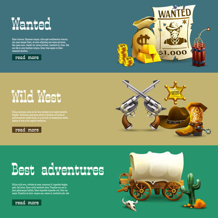 waggon: Wild west realistic horizontal banners set with best adventures symbols isolated vector illustration Illustration