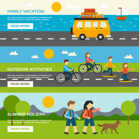 openair: Outing horizontal banner set with outdoor activities elements isolated vector illustration