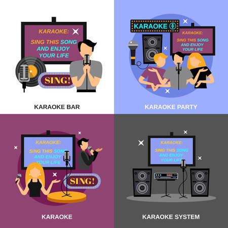 audio: Karaoke design concept set with bar and audio system flat icons isolated vector illustration Illustration
