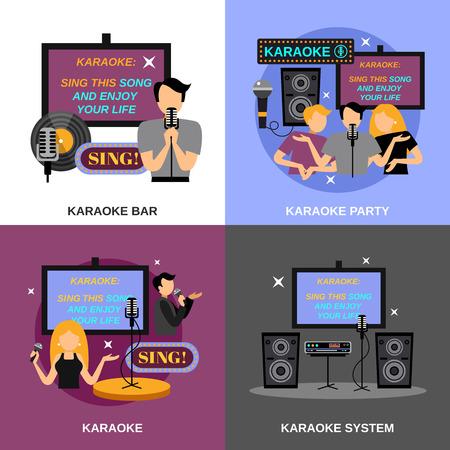 karaoke bar: Karaoke design concept set with bar and audio system flat icons isolated vector illustration Illustration