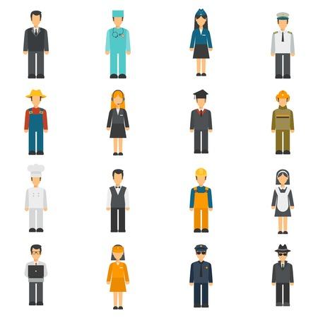officier de police: Profession avatars plates serties de pleine longueur cuisinier détective médecin Isolated Portraits illustration vectorielle Illustration