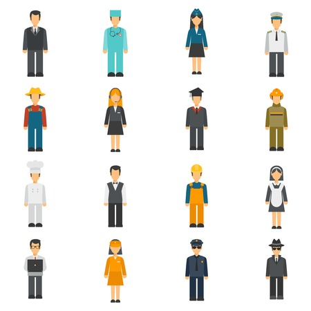 Profession flat avatars set with full length cook detective doctor portraits isolated vector illustration Illustration