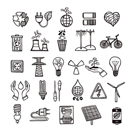 energy sources: Renewable energy sources and ecology symbols with tools and electricity devices outline icon set isolated vector illustration Illustration