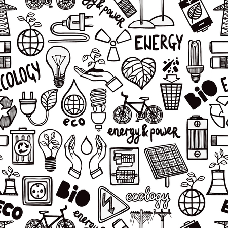 science symbols: Black and white seamless pattern with different doodles of safety energy symbols and letterings flat vector illustration