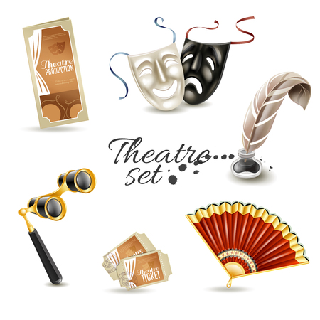 theatre costumes: Theater production program with retro tickets and two face masks flat pictograms set abstract isolated vector illustration